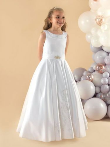 Satin Communion Dress with Scoop Neckline